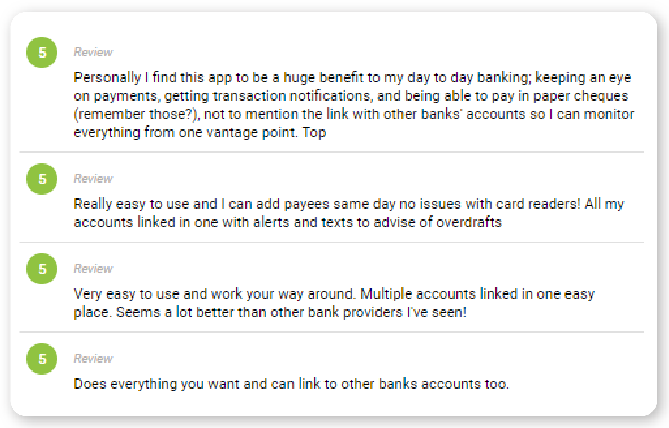 Open banking customer feedback