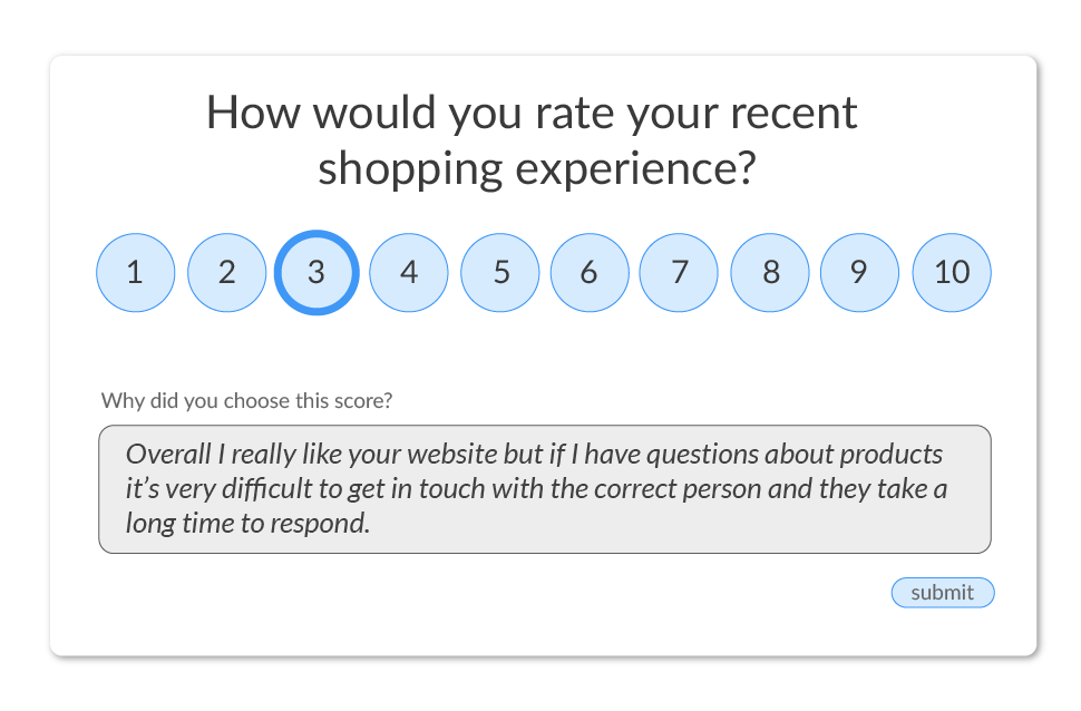 sample NPS survey question and response